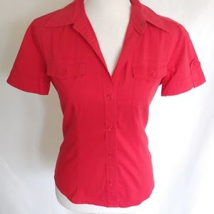 New York & Company Red Button Down Top